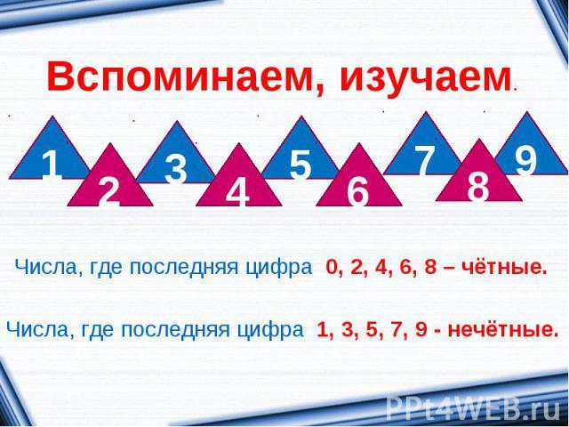 Вспоминаем, изучаем.Числа, где последняя цифра 0, 2, 4, 6, 8 – чётные.Числа, где последняя цифра 1, 3, 5, 7, 9 - нечётные.