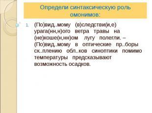 Определи синтаксическую роль омонимов:(По)вид..мому (в)следстви(и,е) урага(нн,н)