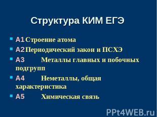 Структура КИМ ЕГЭA1Строение атомаA2Периодический закон и ПСХЭA3 Металлы главных
