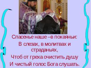 Спасенье наше –в покаяньи:В слезах, в молитвах и страданьях,Чтоб от греха очисти