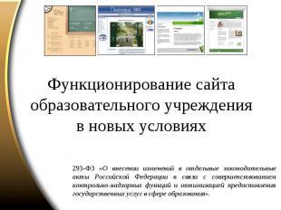 Функционирование сайта образовательного учрежденияв новых условиях 293-ФЗ «О вне