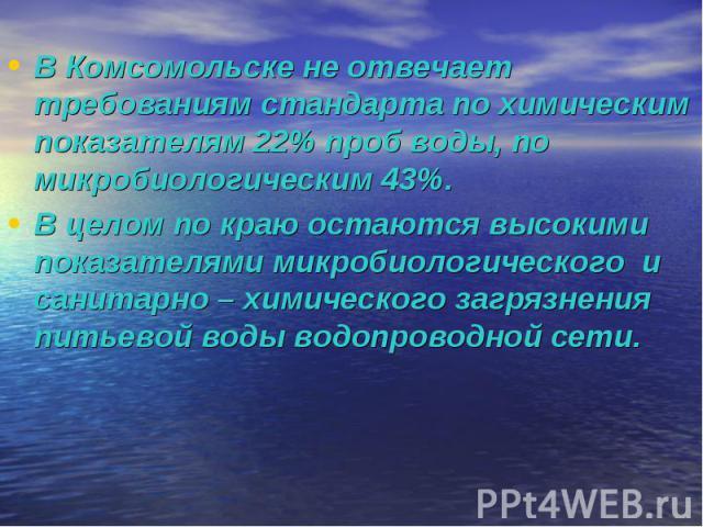 В Комсомольске не отвечает требованиям стандарта по химическим показателям 22% проб воды, по микробиологическим 43%.В целом по краю остаются высокими показателями микробиологического и санитарно – химического загрязнения питьевой воды водопроводной сети.