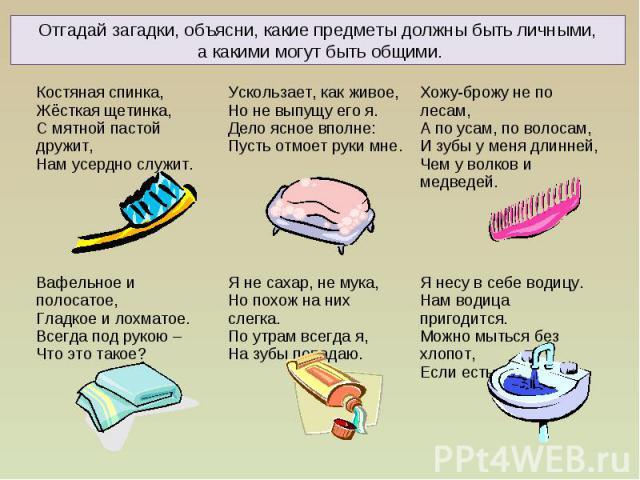 Загадки о средствах гигиены