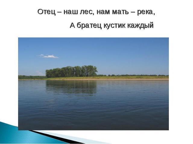 Отец – наш лес, нам мать – река, А братец кустик каждый