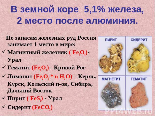 В земной коре 5,1% железа,2 место после алюминия. По запасам железных руд Россия занимает 1 место в мире:Магнитный железняк ( Fe3O4)- УралГематит (Fe2O3) - Кривой РогЛимонит (Fe2O3 * n H2O) – Керчь, Курск, Кольский п-ов, Сибирь, Дальний ВостокПирит …
