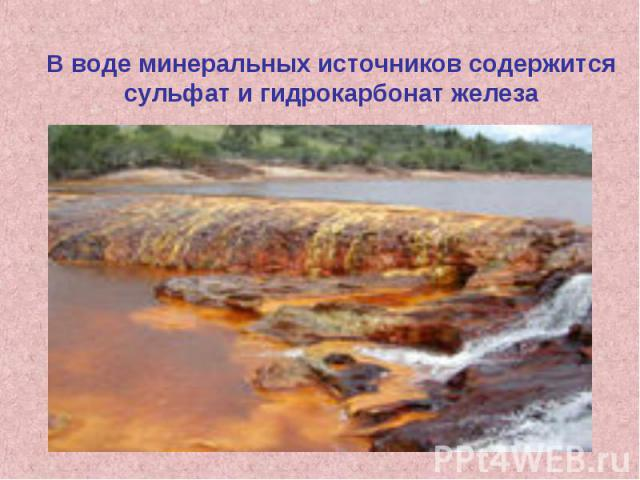В воде минеральных источников содержится сульфат и гидрокарбонат железа