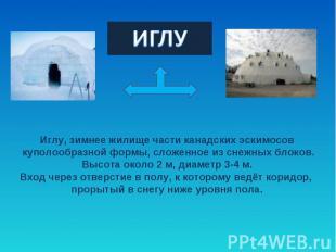 ИГЛУИглу, зимнее жилище части канадских эскимосов куполообразной формы, сложенно