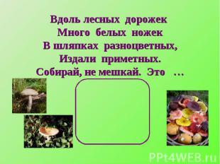 Вдоль лесных дорожек Много белых ножекВ шляпках разноцветных,Издали приметных.Со