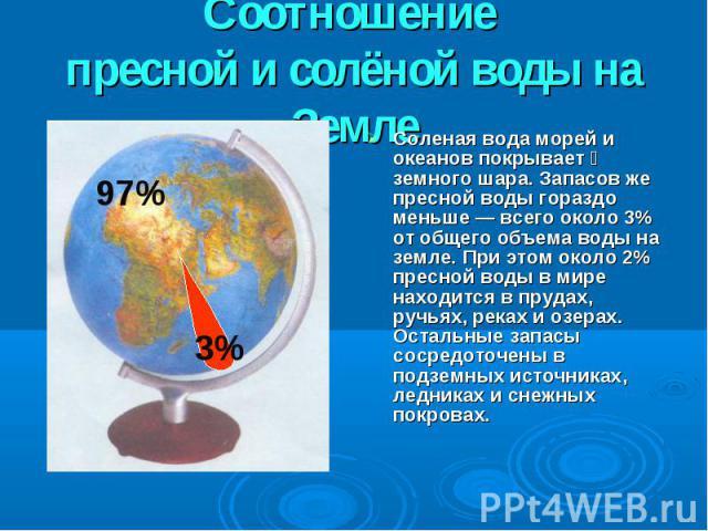 Соотношение пресной и солёной воды на ЗемлеСоленая вода морей и океанов покрывает ⅔ земного шара. Запасов же пресной воды гораздо меньше — всего около 3% от общего объема воды на земле. При этом около 2% пресной воды в мире находится в прудах, ручья…