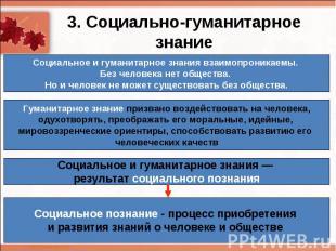 3. Социально-гуманитарное знаниеСоциальное и гуманитарное знания взаимопроникаем