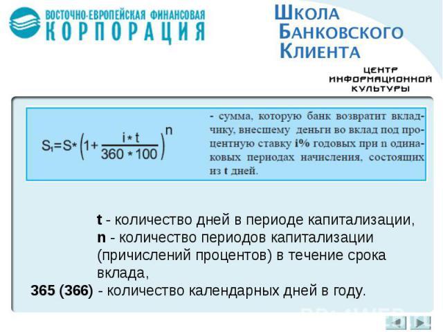 t - количество дней в периоде капитализации,n - количество периодов капитализации (причислений процентов) в течение срока вклада,365 (366) - количество календарных дней в году.