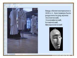 Ввиду обилия материалов в 1830-х гг. Кунсткамера была разделена на ряд музеев: З