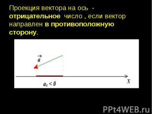 Проекция вектора на ось - отрицательное число , если вектор направлен в противоп