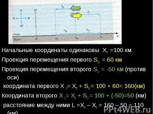 Начальные координаты одинаковы Х0 =100 кмПроекция перемещения первого S1х = 60 к