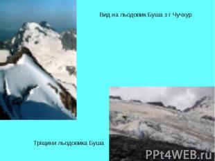 Вид на льодовик Буша з г ЧучхурТріщини льодовика Буша