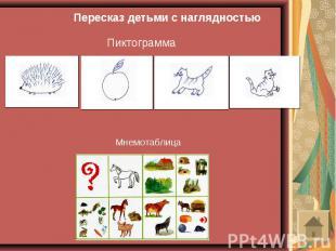 Пересказ детьми с наглядностьюПиктограммаМнемотаблица