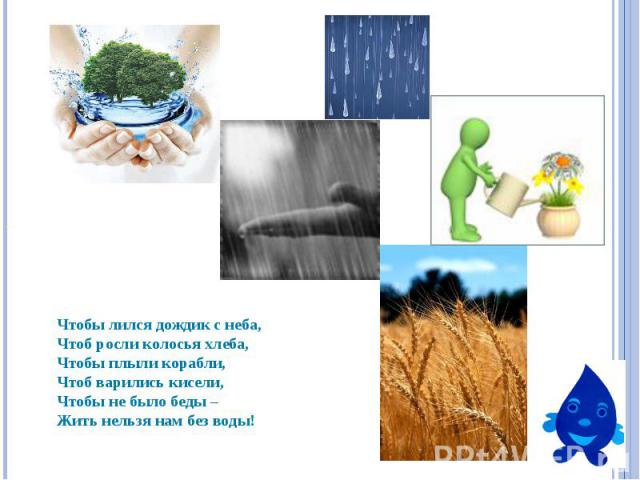 Чтобы лился дождик с неба, Чтоб росли колосья хлеба,Чтобы плыли корабли,Чтоб варились кисели,Чтобы не было беды –Жить нельзя нам без воды!