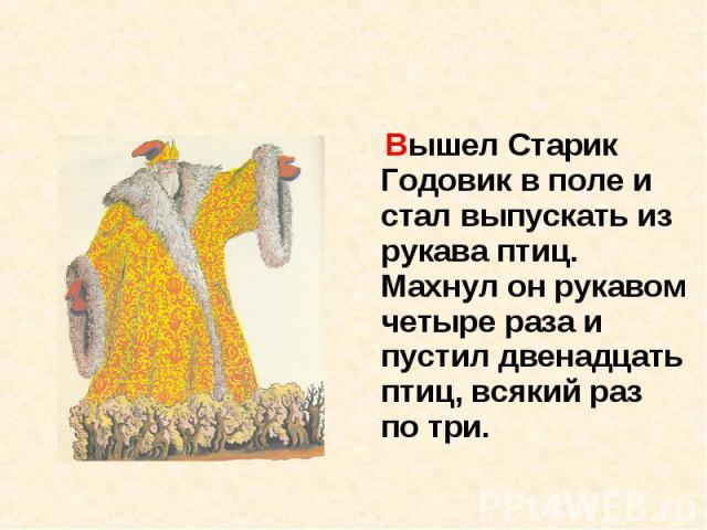 Вышел Старик Годовик в поле и стал выпускать из рукава птиц. Махнул он рукавом четыре раза и пустил двенадцать птиц, всякий раз по три.