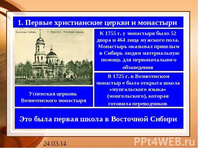 1. Первые христианские церкви и монастыри К 1755 г. у монастыря было 52 двора и 464 лица мужского пола. Монастырь оказывал пришлым в Сибирь людям материальнуюпомощь для первоначальногообзаведения В 1725 г. в Вознесенскоммонастыр е была открыта школа…