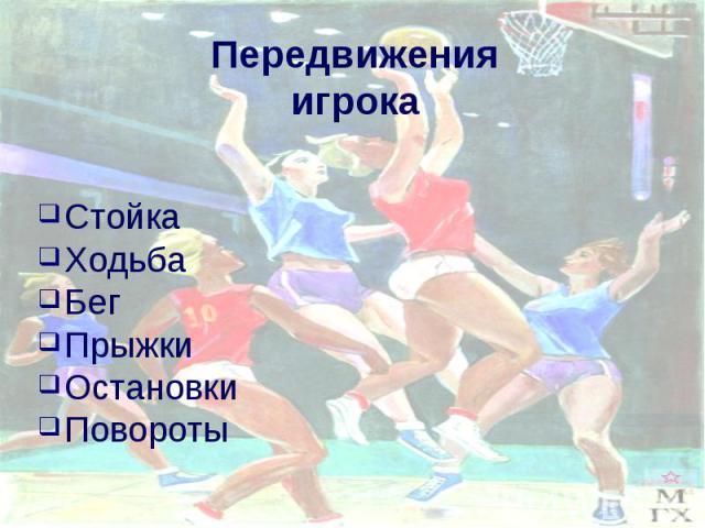 Передвижения игрока Стойка Ходьба Бег ПрыжкиОстановки Повороты