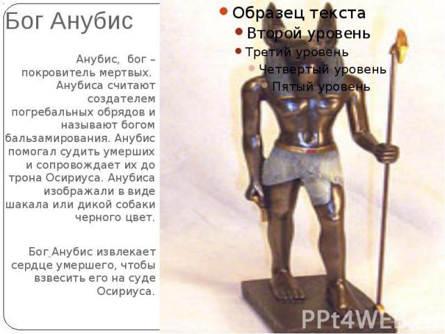 Бог АнубисАнубис, бог – покровитель мертвых. Анубиса считают создателем погребальных обрядов и называют богом бальзамирования. Анубис помогал судить умерших и сопровождает их до трона Осириуса. Анубиса изображали в виде шакала или дикой собаки черно…