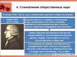 4. Становление общественных наукВ конце XVIII—XIXв. шло становление научного об