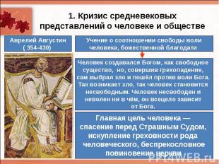 1. Кризис средневековых представлений о человеке и обществеУчение о соотношении