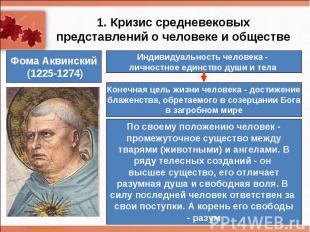 1. Кризис средневековых представлений о человеке и обществеИндивидуальность чело