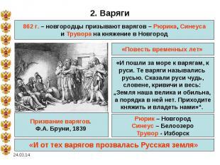 2. Варяги862 г. – новгородцы призывают варягов – Рюрика, Синеусаи Трувора на кня