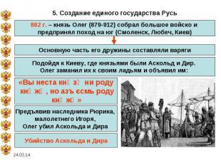 5. Создание единого государства Русь882 г. – князь Олег (879-912) собрал большое
