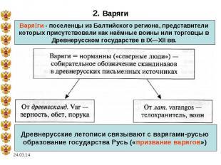 2. ВарягиВаряги - поселенцы из Балтийского региона, представители которых присут