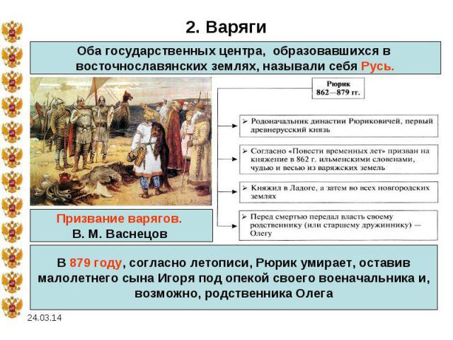 2. ВарягиОба государственных центра, образовавшихся в восточнославянских землях, называли себя Русь.В 879 году, согласно летописи, Рюрик умирает, оставивмалолетнего сына Игоря под опекой своего военачальника и, возможно, родственника Олега