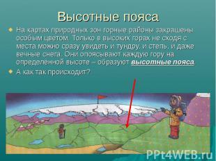 Высотные пояса На картах природных зон горные районы закрашены особым цветом. То