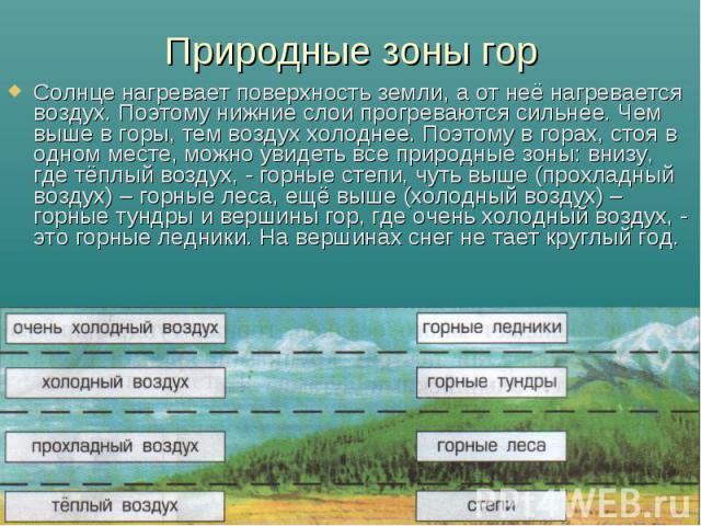 Природные зоны гор Солнце нагревает поверхность земли, а от неё нагревается воздух. Поэтому нижние слои прогреваются сильнее. Чем выше в горы, тем воздух холоднее. Поэтому в горах, стоя в одном месте, можно увидеть все природные зоны: внизу, где тёп…