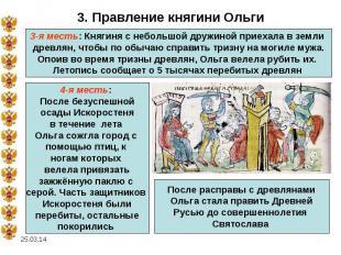 3. Правление княгини Ольги3-я месть: Княгиня с небольшой дружиной приехала в зем