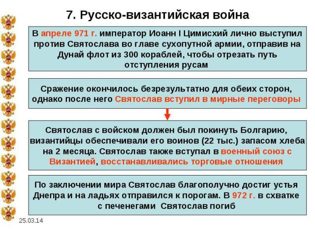 7. Русско-византийская войнаВ апреле 971 г. император Иоанн I Цимисхий лично выступилпротив Святослава во главе сухопутной армии, отправив на Дунай флот из 300 кораблей, чтобы отрезать путь отступления русам Сражение окончилось безрезультатно для об…