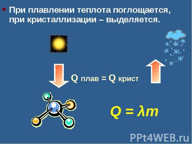 При плавлении теплота поглощается, при кристаллизации – выделяется.