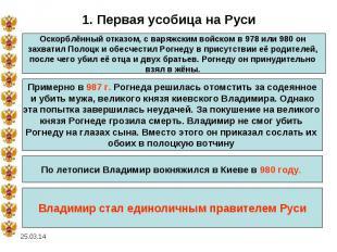 1. Первая усобица на РусиОскорблённый отказом, с варяжским войском в 978 или 980