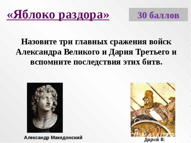 «Яблоко раздора»Назовите три главных сражения войск Александра Великого и Дария Третьего и вспомните последствия этих битв.