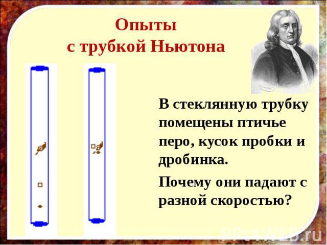 Опытыс трубкой Ньютона В стеклянную трубку помещены птичье перо, кусок пробки и дробинка.Почему они падают с разной скоростью?