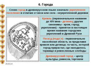 6. ГородаСлово город в древнерусском языке означало укрепленное поселение в отли
