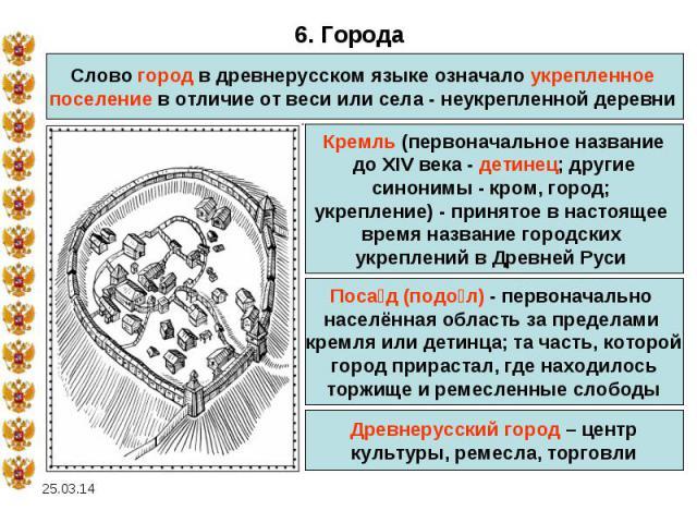 6. ГородаСлово город в древнерусском языке означало укрепленное поселение в отличие от веси или села - неукрепленной деревни Кремль (первоначальное названиедо XIV века- детинец; другиесинонимы- кром, город; укрепление)- принятое в настоящее время…
