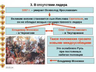 3. В отсутствии лидера1097 г. – умирает Всеволод ЯрославовичВеликим князем стано