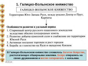1. Галицко-Волынское княжествоВ Галицко-Волынском княжестве сложилось богатое бо