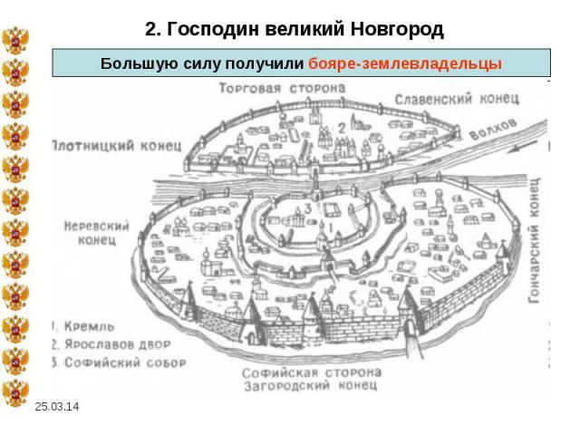 2. Господин великий НовгородБольшую силу получили бояре-землевладельцы