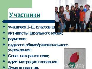 Участникиучащиеся 1-11 классов школы;активисты школьного музея;родители;педагоги