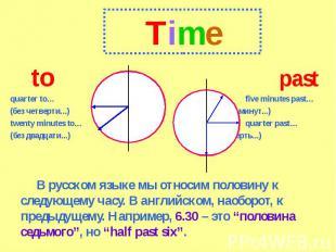 Time topastquarter to…five minutes past…(без четверти...) (пять минут...)twenty