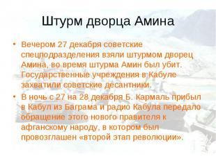 Штурм дворца АминаВечером 27 декабря советские спецподразделения взяли штурмом д
