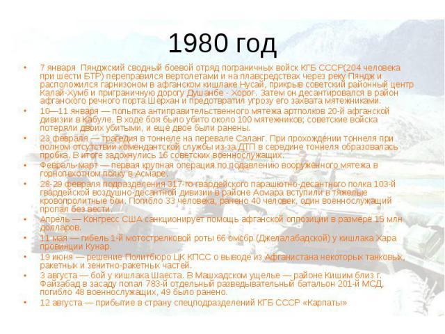 1980 год7 января Пянджский сводный боевой отряд пограничных войск КГБ СССР(204 человека при шести БТР) переправился вертолетами и на плавсредствах через реку Пяндж и расположился гарнизоном в афганском кишлаке Нусай, прикрыв советский районный центр…