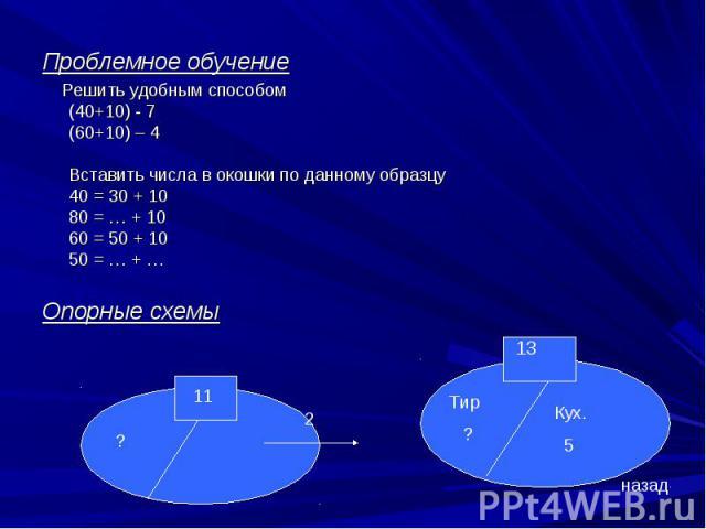 Проблемное обучение Решить удобным способом (40+10) - 7 (60+10) – 4Вставить числа в окошки по данному образцу40 = 30 + 10 80 = … + 10 60 = 50 + 10 50 = … + …Опорные схемы